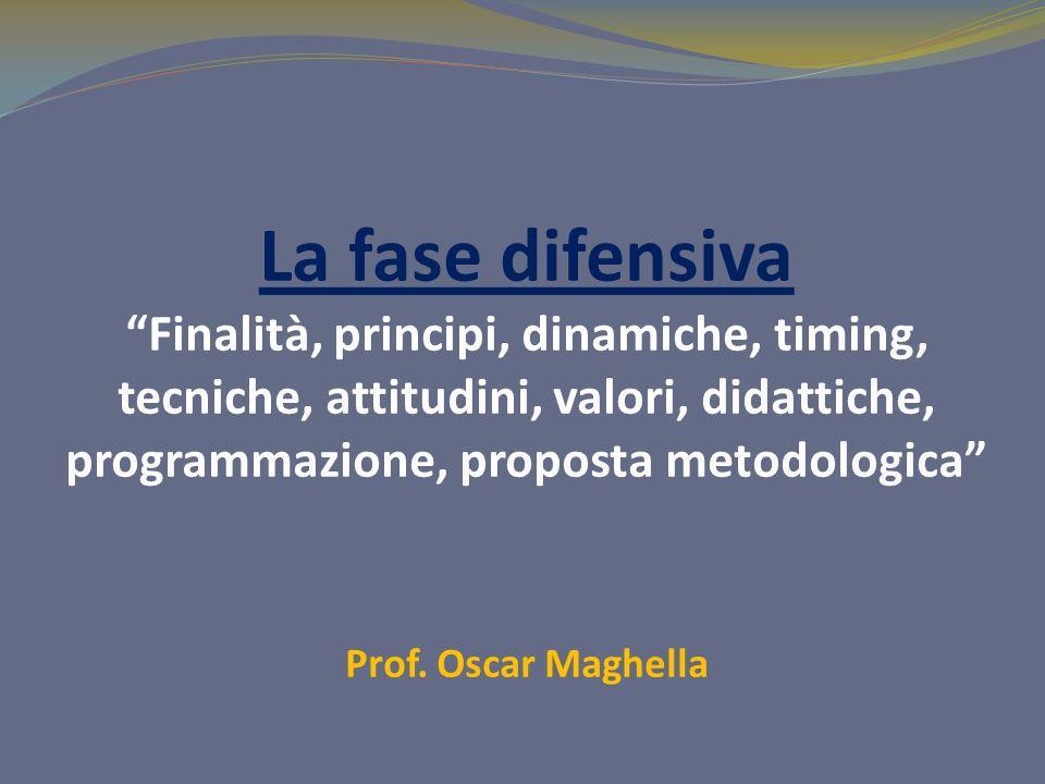 La fase difensiva Finalità, principi, dinamiche, timing, tecniche, attitudini, valori, didattiche, programmazione, proposta metodologica Prof. Oscar M