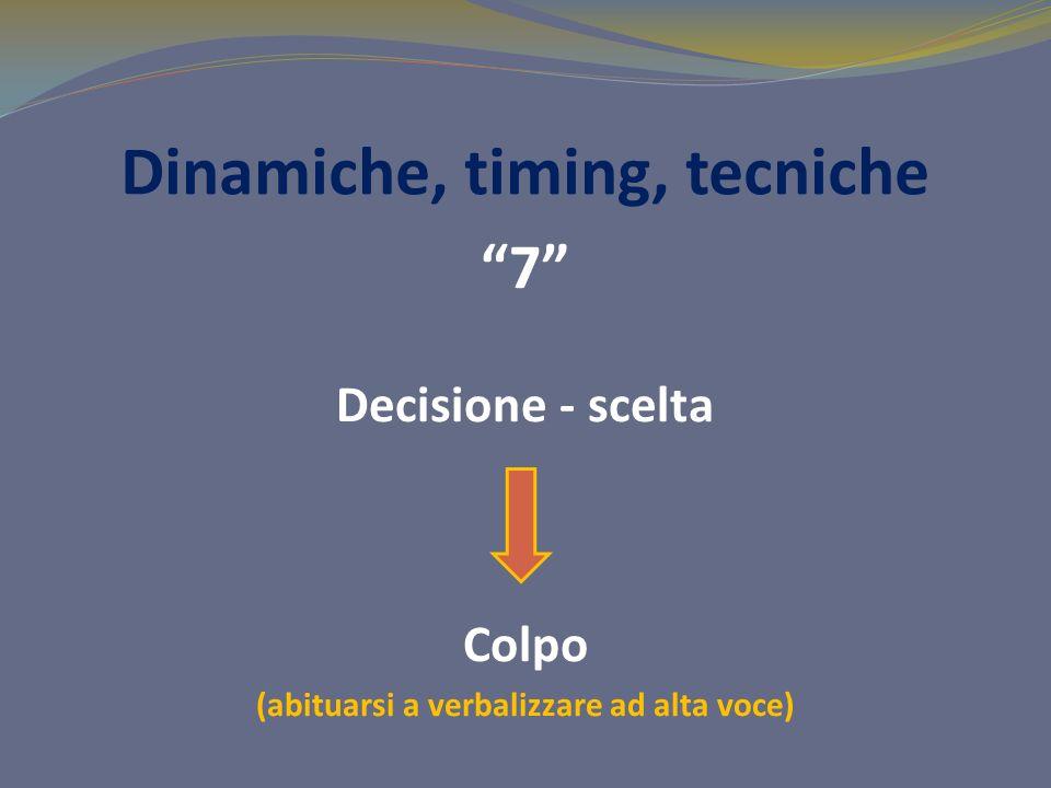 Dinamiche, timing, tecniche 7 Decisione - scelta Colpo (abituarsi a verbalizzare ad alta voce)