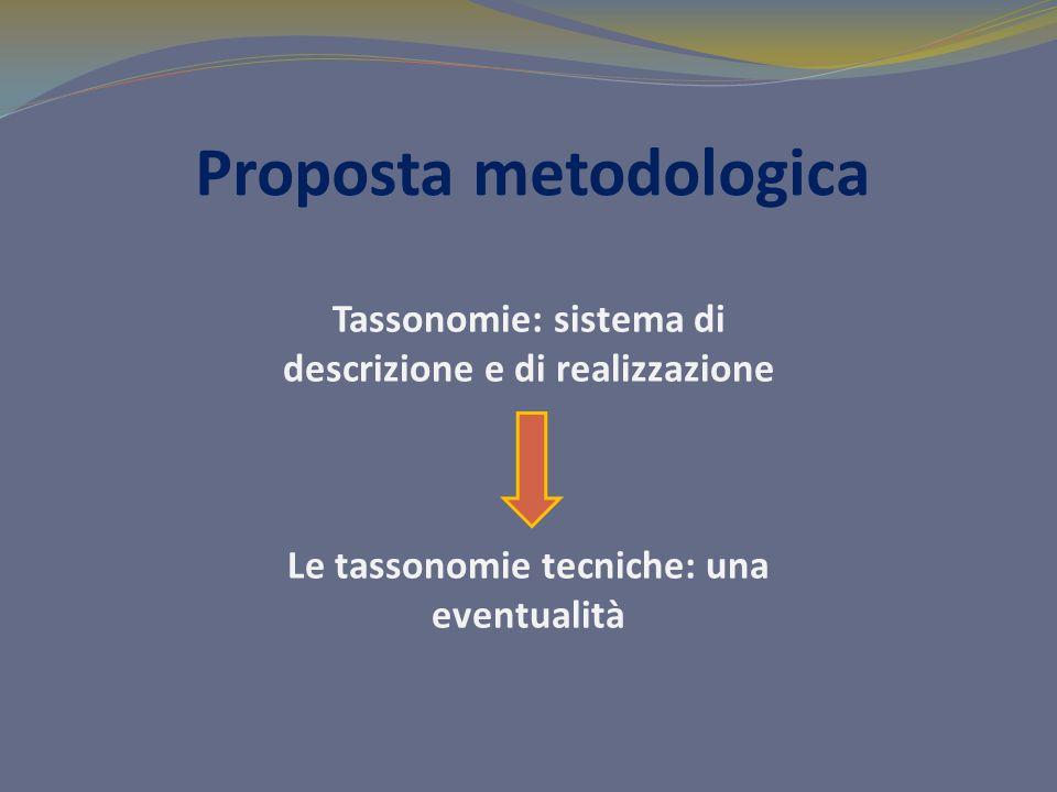 Proposta metodologica Tassonomie: sistema di descrizione e di realizzazione Le tassonomie tecniche: una eventualità