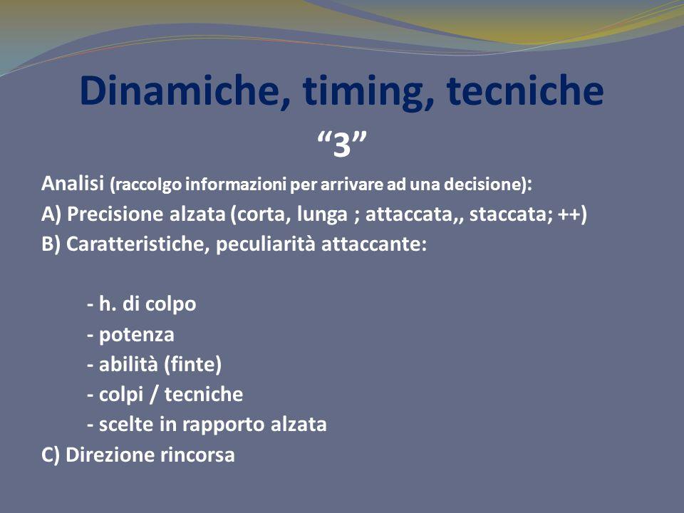 Dinamiche, timing, tecniche 3 Analisi (raccolgo informazioni per arrivare ad una decisione) : A) Precisione alzata (corta, lunga ; attaccata,, staccat