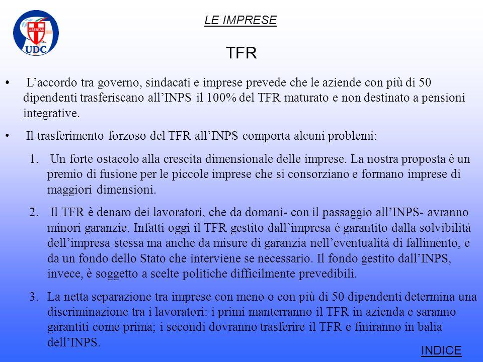 LE IMPRESE TFR Laccordo tra governo, sindacati e imprese prevede che le aziende con più di 50 dipendenti trasferiscano allINPS il 100% del TFR maturato e non destinato a pensioni integrative.