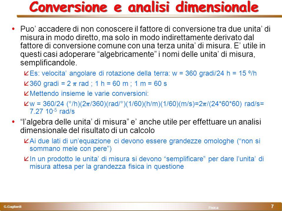 G.Gagliardi Fisica 7 Conversione e analisi dimensionale Puo accadere di non conoscere il fattore di conversione tra due unita di misura in modo dirett
