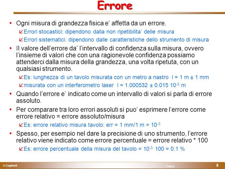 G.Gagliardi Fisica 8 Errore Ogni misura di grandezza fisica e affetta da un errore. Errori stocastici: dipendono dalla non ripetibilita delle misura E