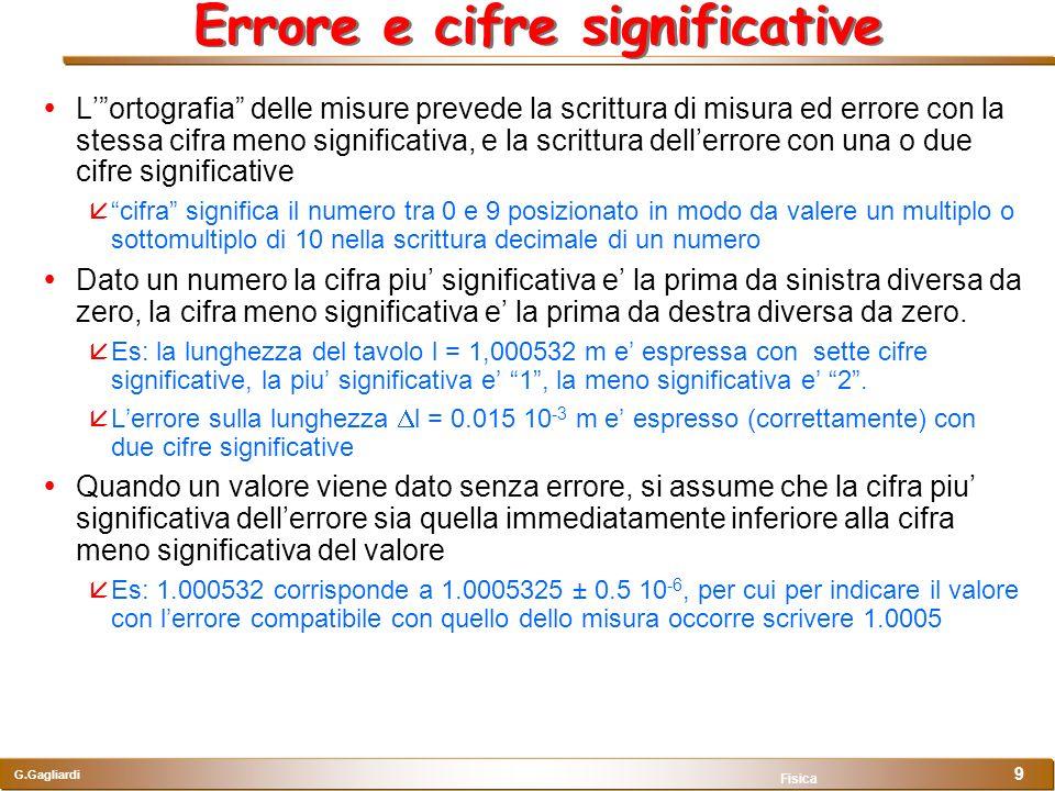 G.Gagliardi Fisica 9 Errore e cifre significative Lortografia delle misure prevede la scrittura di misura ed errore con la stessa cifra meno significa