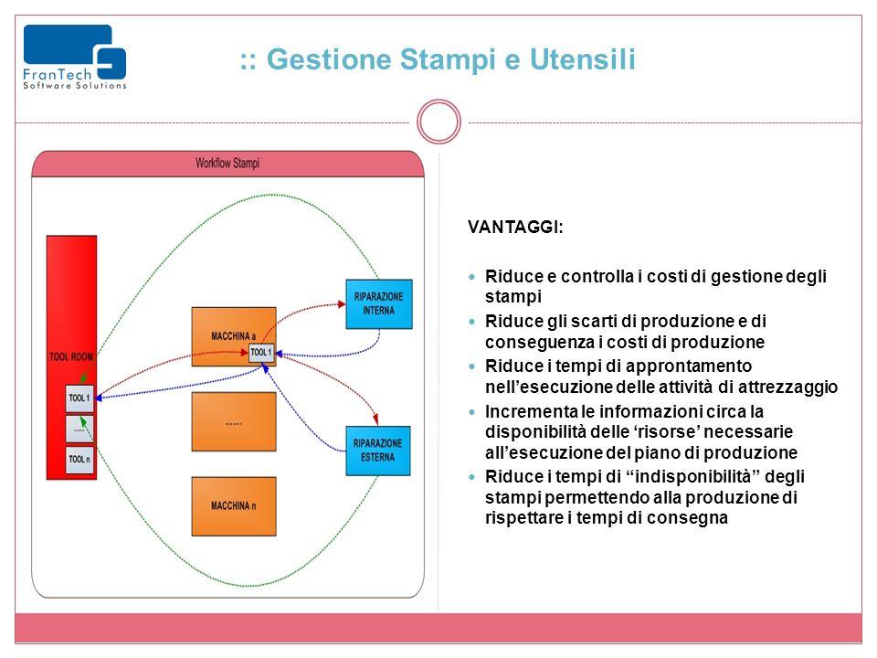 :: Gestione Stampi e Utensili VANTAGGI: Riduce e controlla i costi di gestione degli stampi Riduce gli scarti di produzione e di conseguenza i costi d