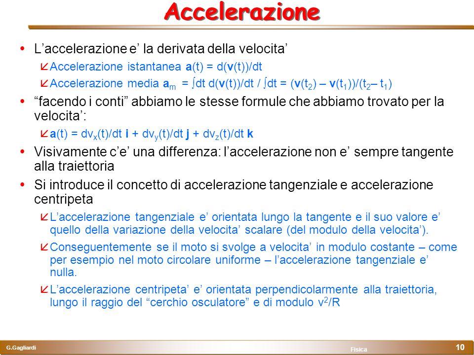 G.Gagliardi Fisica 10 Accelerazione Laccelerazione e la derivata della velocita Accelerazione istantanea a(t) = d(v(t))/dt Accelerazione media a m = d