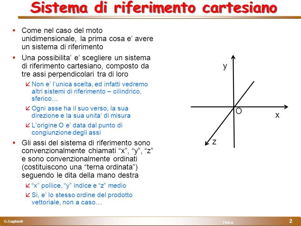 G.Gagliardi Fisica 2 Sistema di riferimento cartesiano Come nel caso del moto unidimensionale, la prima cosa e avere un sistema di riferimento Una pos