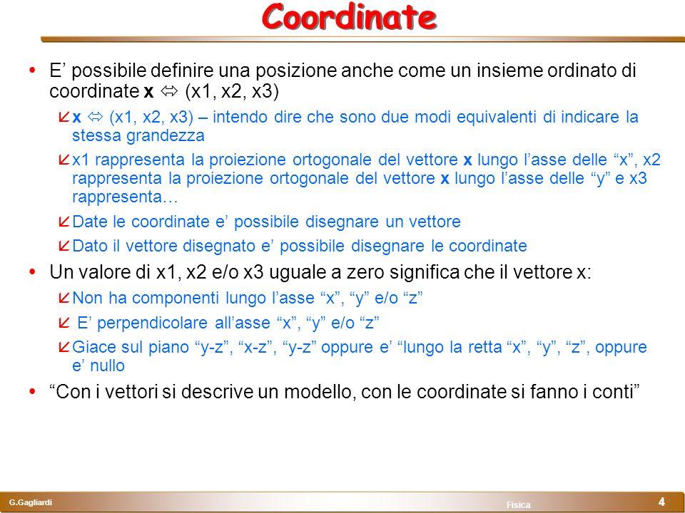 G.Gagliardi Fisica 4 Coordinate E possibile definire una posizione anche come un insieme ordinato di coordinate x (x1, x2, x3) x (x1, x2, x3) – intend