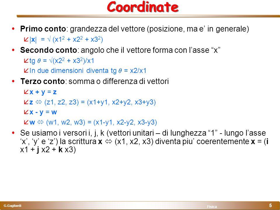 G.Gagliardi Fisica 5 Coordinate Primo conto: grandezza del vettore (posizione, ma e in generale) |x| = (x1 2 + x2 2 + x3 2 ) Secondo conto: angolo che