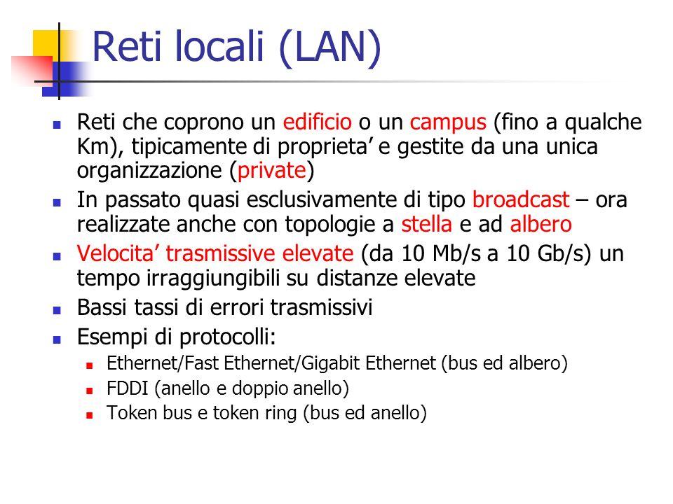 Reti locali (LAN) Reti che coprono un edificio o un campus (fino a qualche Km), tipicamente di proprieta e gestite da una unica organizzazione (privat