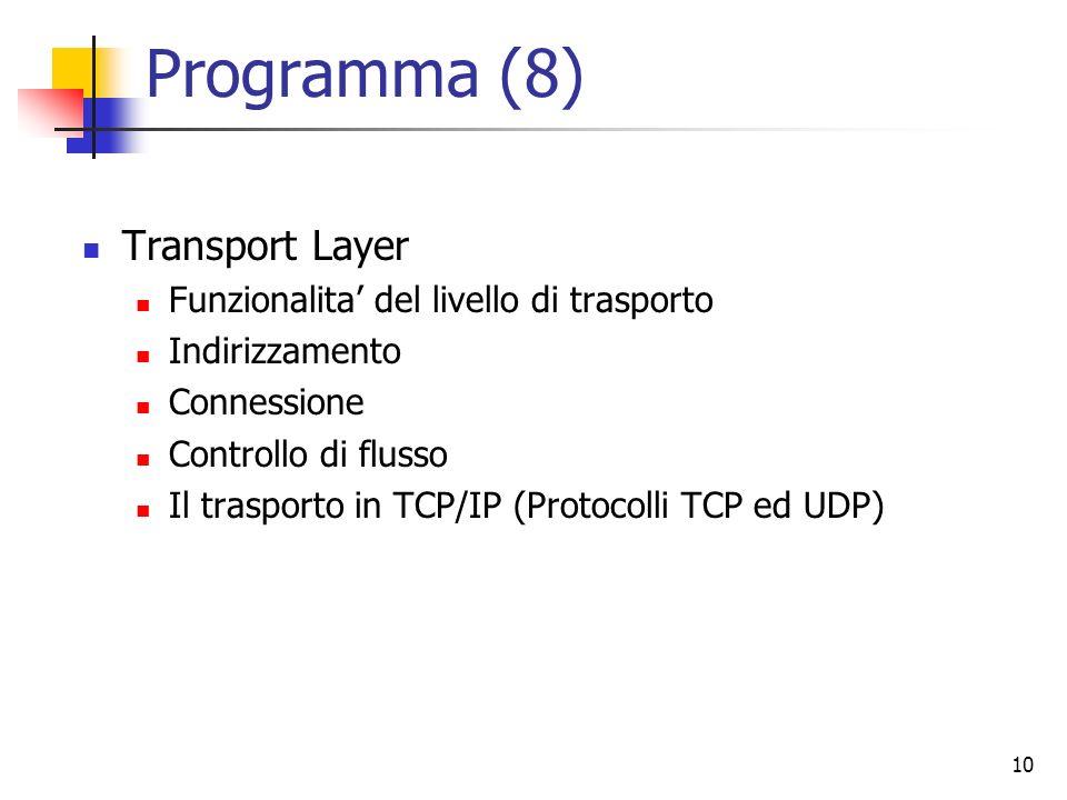 10 Programma (8) Transport Layer Funzionalita del livello di trasporto Indirizzamento Connessione Controllo di flusso Il trasporto in TCP/IP (Protocol