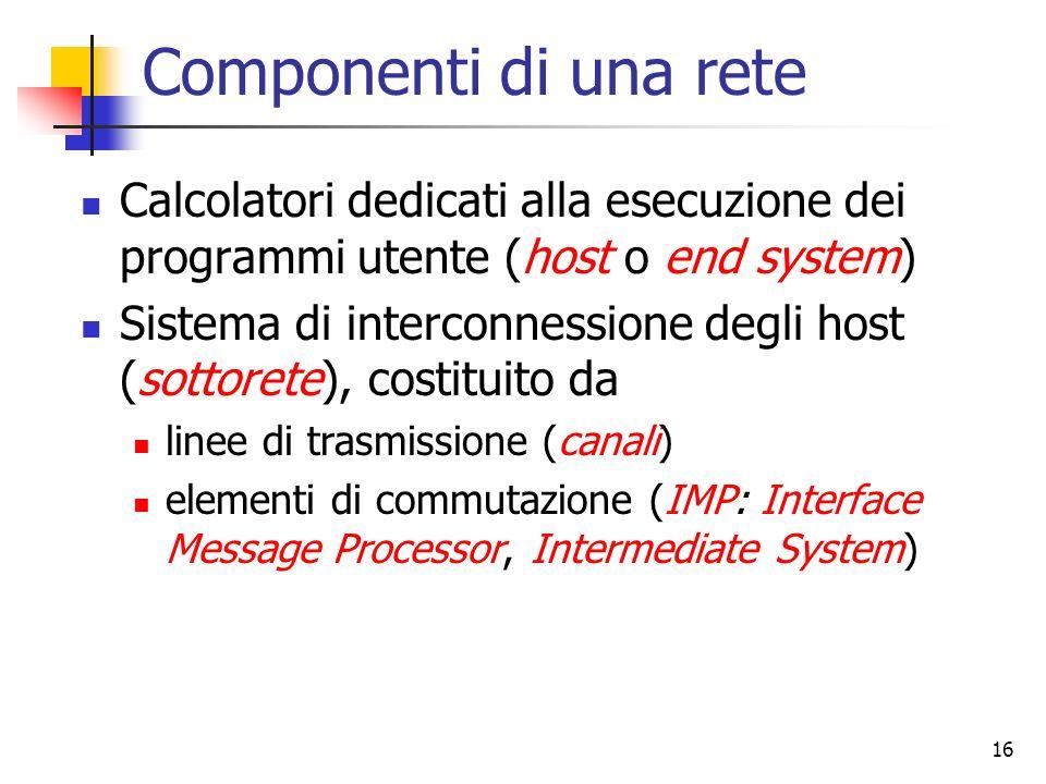 16 Componenti di una rete Calcolatori dedicati alla esecuzione dei programmi utente (host o end system) Sistema di interconnessione degli host (sottor