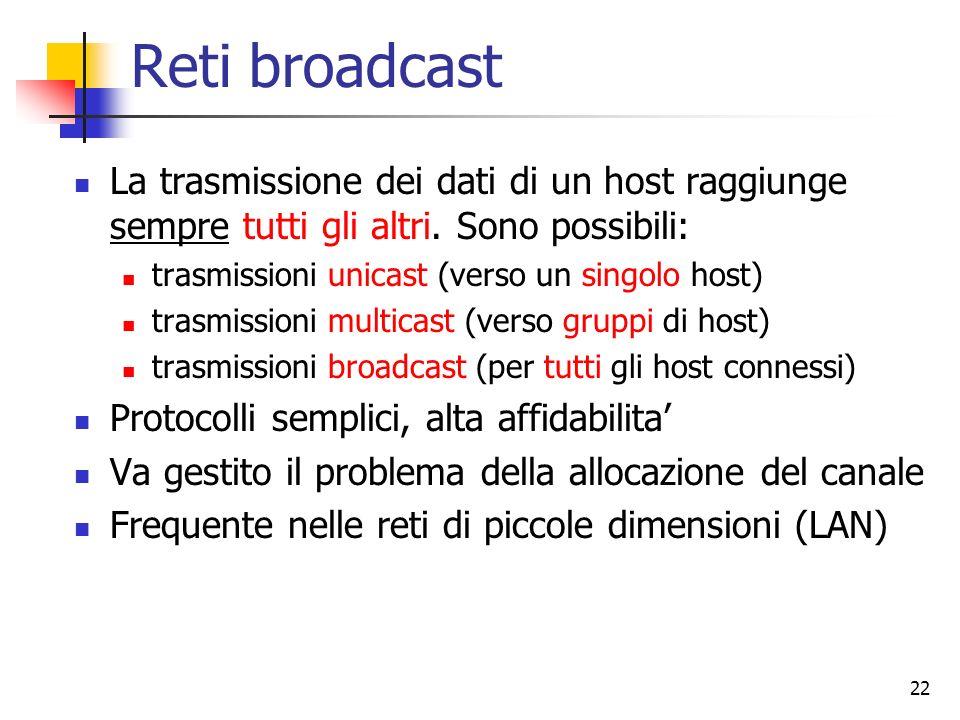 22 Reti broadcast La trasmissione dei dati di un host raggiunge sempre tutti gli altri. Sono possibili: trasmissioni unicast (verso un singolo host) t