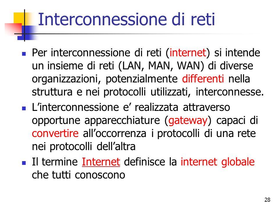 28 Interconnessione di reti Per interconnessione di reti (internet) si intende un insieme di reti (LAN, MAN, WAN) di diverse organizzazioni, potenzial