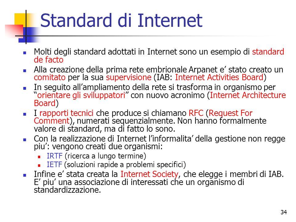 34 Standard di Internet Molti degli standard adottati in Internet sono un esempio di standard de facto Alla creazione della prima rete embrionale Arpa