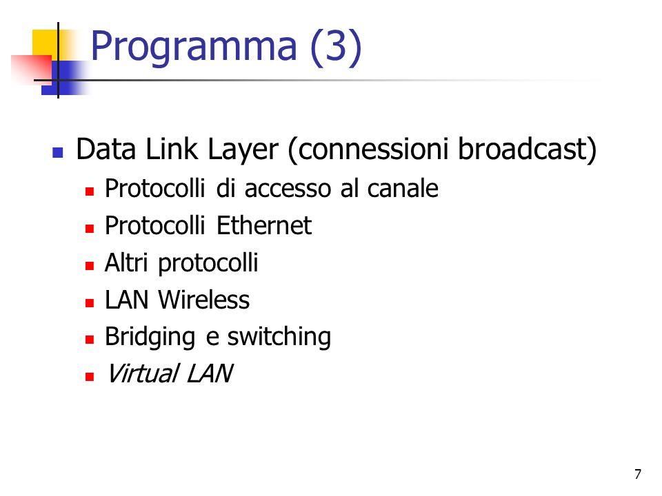 7 Programma (3) Data Link Layer (connessioni broadcast) Protocolli di accesso al canale Protocolli Ethernet Altri protocolli LAN Wireless Bridging e s