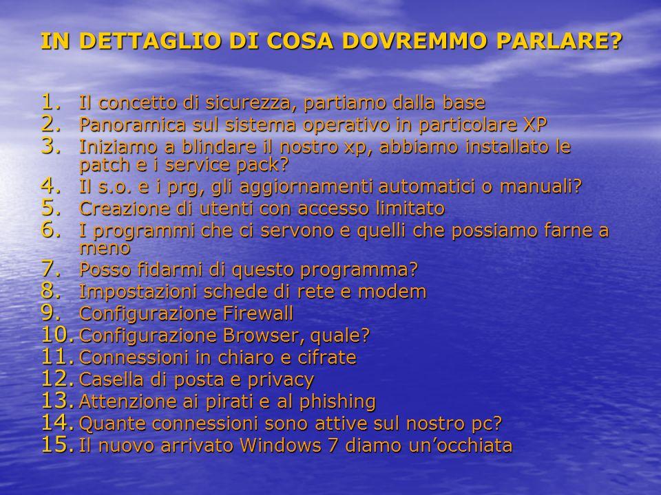 IN DETTAGLIO DI COSA DOVREMMO PARLARE? 1. Il concetto di sicurezza, partiamo dalla base 2. Panoramica sul sistema operativo in particolare XP 3. Inizi