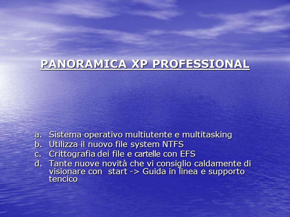 PANORAMICA XP PROFESSIONAL a.Sistema operativo multiutente e multitasking b.Utilizza il nuovo file system NTFS c.Crittografia dei file e cartelle con