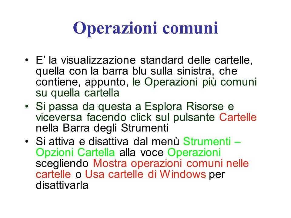 Operazioni comuni E la visualizzazione standard delle cartelle, quella con la barra blu sulla sinistra, che contiene, appunto, le Operazioni più comun