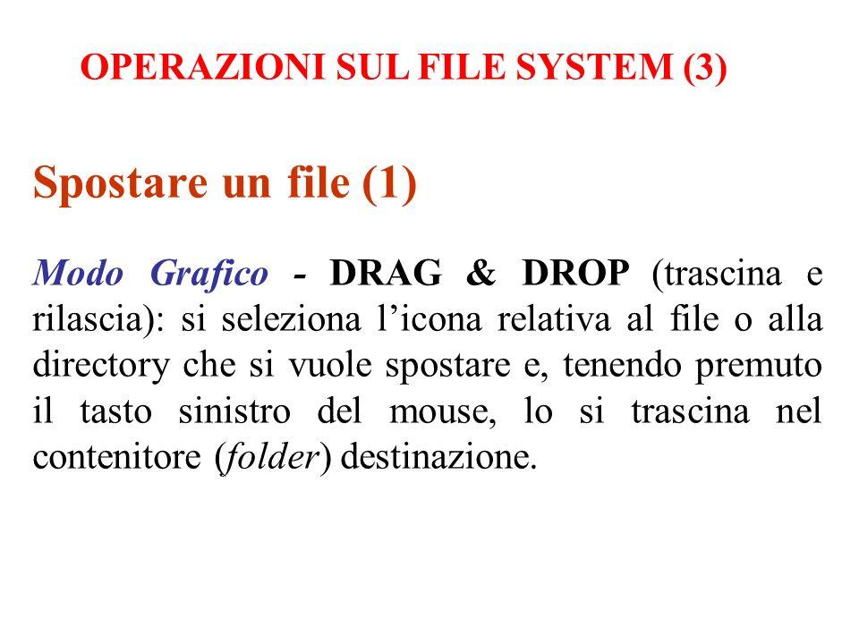 Spostare un file (1) Modo Grafico - DRAG & DROP (trascina e rilascia): si seleziona licona relativa al file o alla directory che si vuole spostare e,