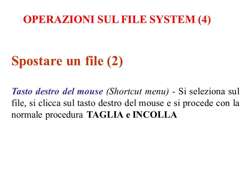 Spostare un file (2) Tasto destro del mouse (Shortcut menu) - Si seleziona sul file, si clicca sul tasto destro del mouse e si procede con la normale