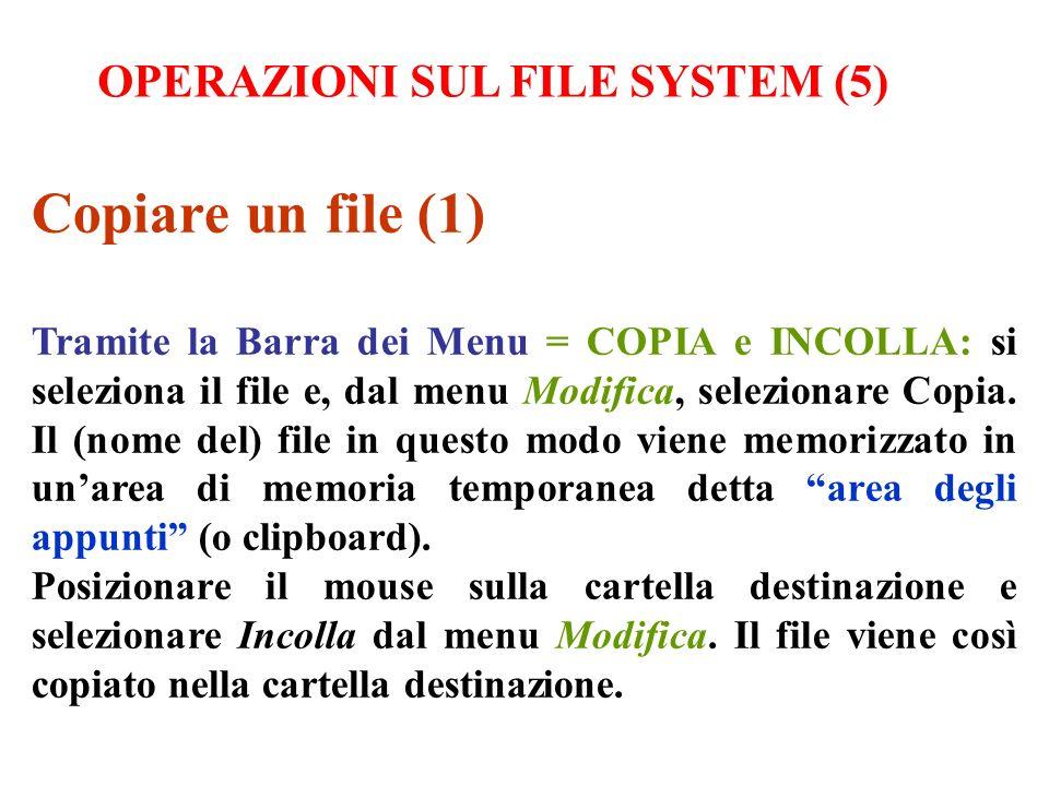 Copiare un file (1) Tramite la Barra dei Menu = COPIA e INCOLLA: si seleziona il file e, dal menu Modifica, selezionare Copia. Il (nome del) file in q