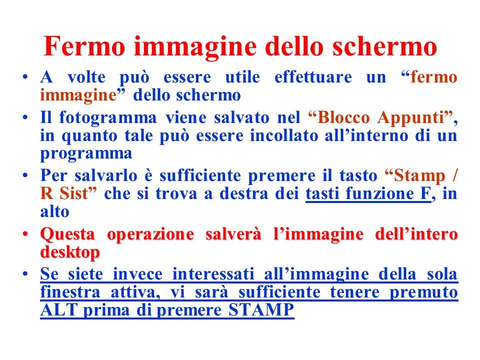 Fermo immagine dello schermo A volte può essere utile effettuare un fermo immagine dello schermo Il fotogramma viene salvato nel Blocco Appunti, in qu