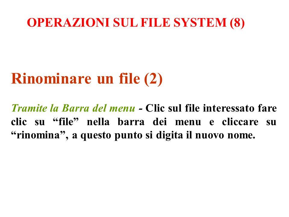 Rinominare un file (2) Tramite la Barra del menu - Clic sul file interessato fare clic su file nella barra dei menu e cliccare su rinomina, a questo p