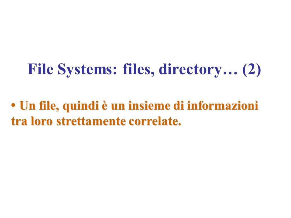 File Systems: files, directory… (2) Un file, quindi è un insieme di informazioni tra loro strettamente correlate.