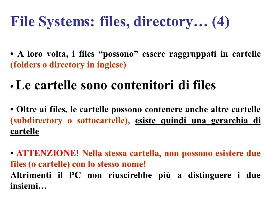 File Systems: files, directory… (4) A loro volta, i files possono essere raggruppati in cartelle (folders o directory in inglese) Le cartelle sono con