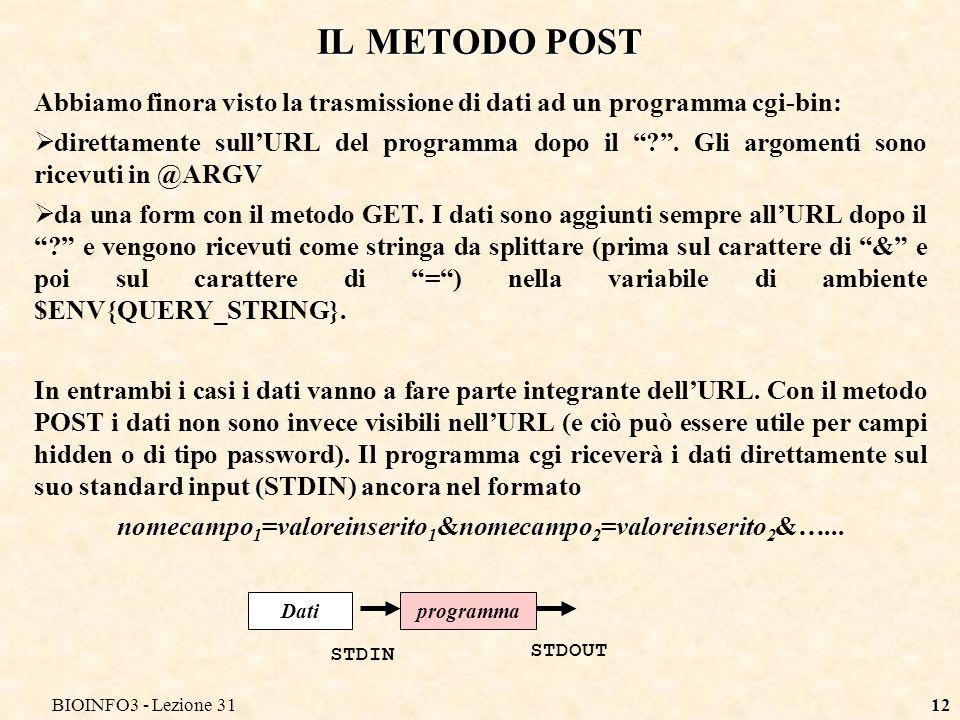BIOINFO3 - Lezione 3112 IL METODO POST Abbiamo finora visto la trasmissione di dati ad un programma cgi-bin: direttamente sullURL del programma dopo il .