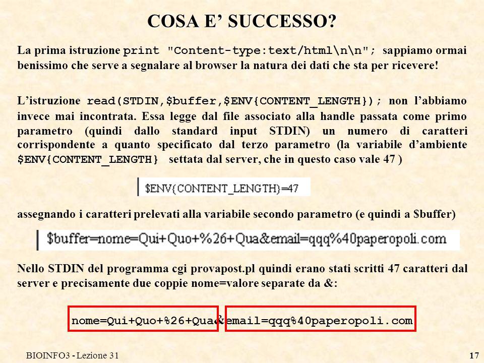 BIOINFO3 - Lezione 3117 COSA E SUCCESSO.
