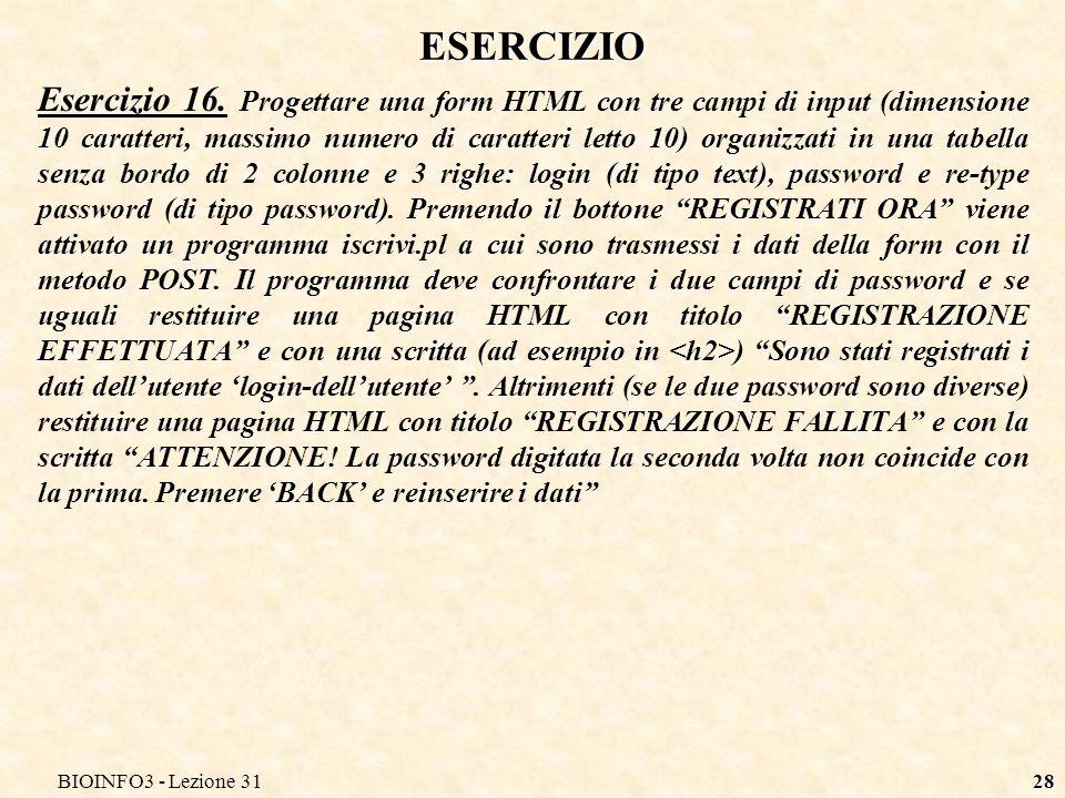 BIOINFO3 - Lezione 3128 ESERCIZIO Esercizio 16.