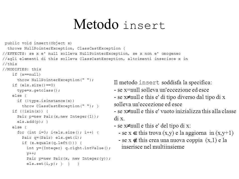 Metodo insert Il metodo insert soddisfa la specifica: - se x=null solleva un eccezione ed esce - se x null e this e di tipo diverso dal tipo di x solleva un eccezione ed esce - se x null e this e vuoto inizializza this alla classe di x.