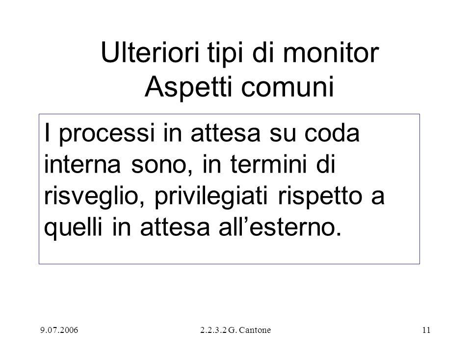9.07.20062.2.3.2 G. Cantone11 Ulteriori tipi di monitor Aspetti comuni I processi in attesa su coda interna sono, in termini di risveglio, privilegiat