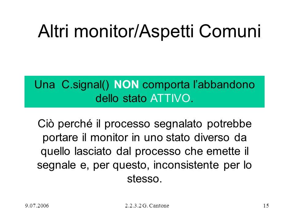 9.07.20062.2.3.2 G. Cantone15 Altri monitor/Aspetti Comuni Una C.signal() NON comporta labbandono dello stato ATTIVO. Ciò perché il processo segnalato