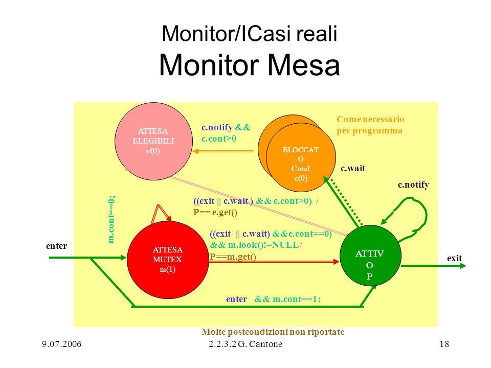9.07.20062.2.3.2 G. Cantone18 Monitor/ICasi reali Monitor Mesa enter ((exit || c.wait) &&e.cont==0) && m.look()!=NULL / P==m.get() c.wait enter && m.c