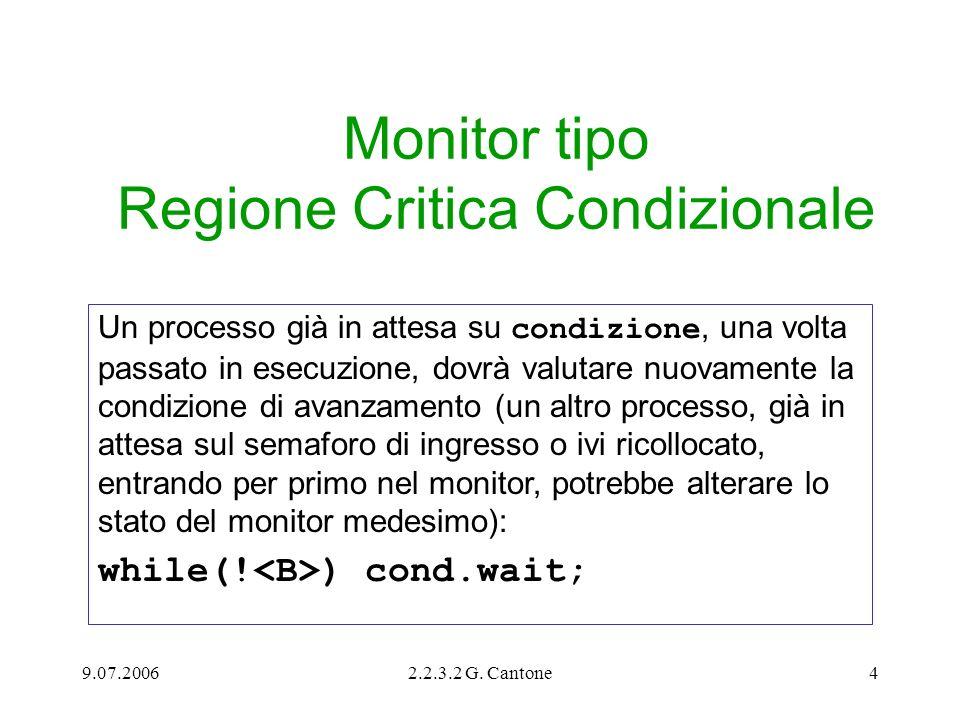 9.07.20062.2.3.2 G. Cantone4 Monitor tipo Regione Critica Condizionale Un processo già in attesa su condizione, una volta passato in esecuzione, dovrà