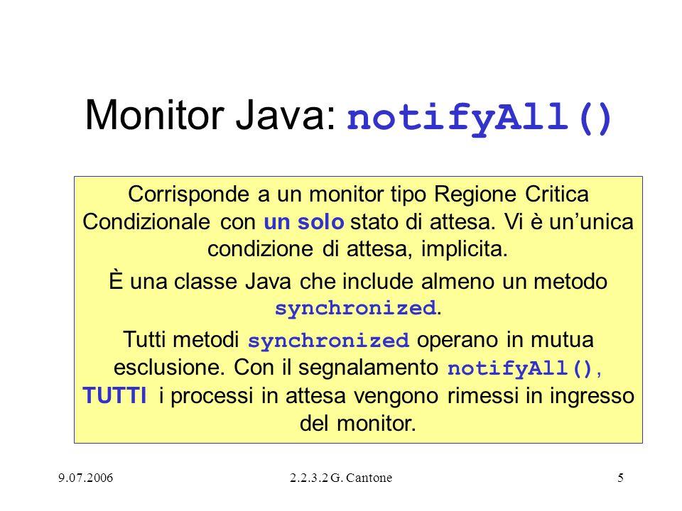 9.07.20062.2.3.2 G. Cantone5 Monitor Java: notifyAll() Corrisponde a un monitor tipo Regione Critica Condizionale con un solo stato di attesa. Vi è un