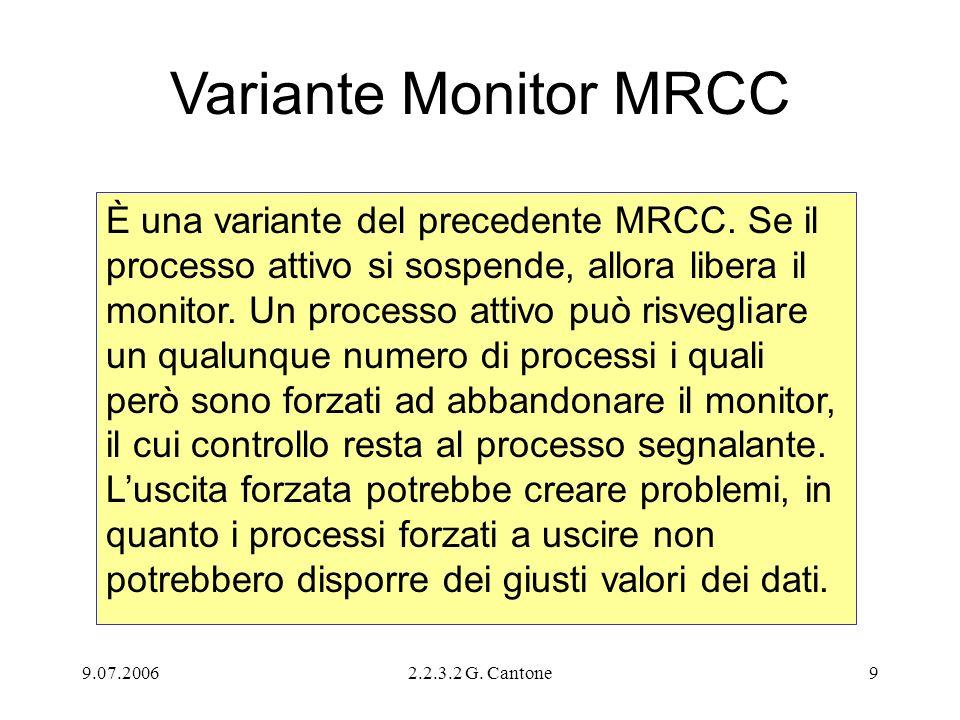 9.07.20062.2.3.2 G. Cantone9 Variante Monitor MRCC È una variante del precedente MRCC. Se il processo attivo si sospende, allora libera il monitor. Un
