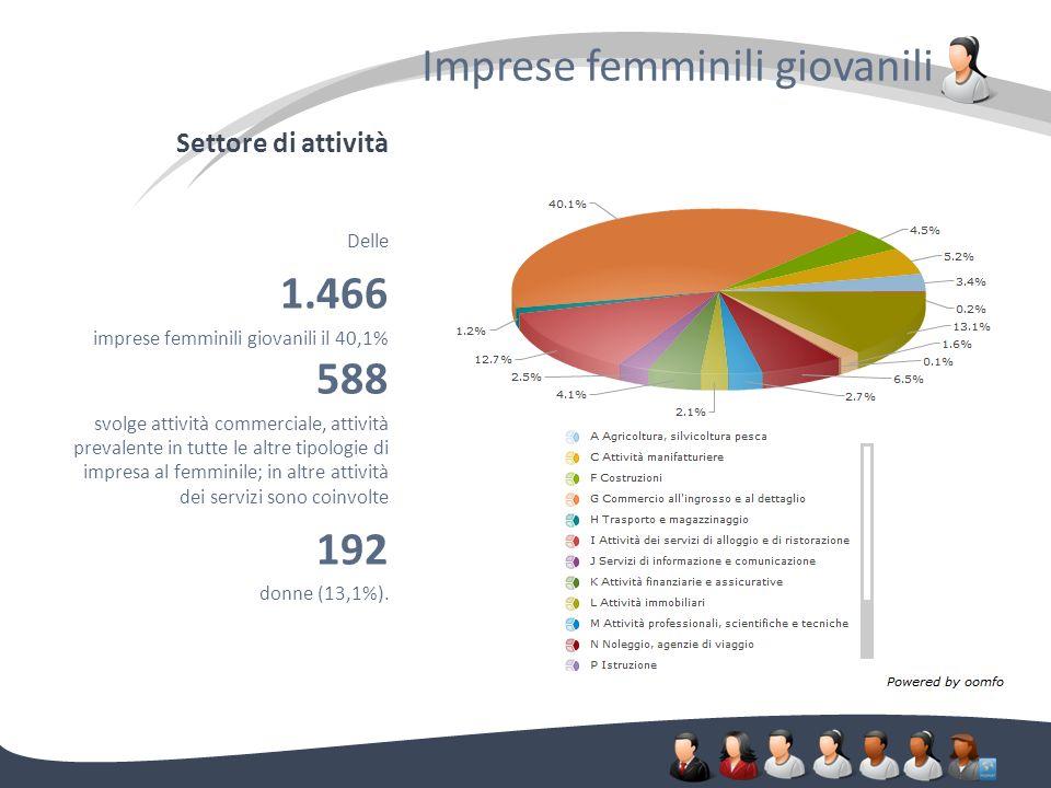 Settore di attività Imprese femminili giovanili. Delle 1.466 imprese femminili giovanili il 40,1% 588 svolge attività commerciale, attività prevalente