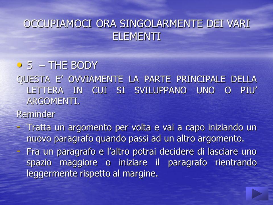 OCCUPIAMOCI ORA SINGOLARMENTE DEI VARI ELEMENTI 5 – THE BODY 5 – THE BODY QUESTA E OVVIAMENTE LA PARTE PRINCIPALE DELLA LETTERA IN CUI SI SVILUPPANO UNO O PIU ARGOMENTI.