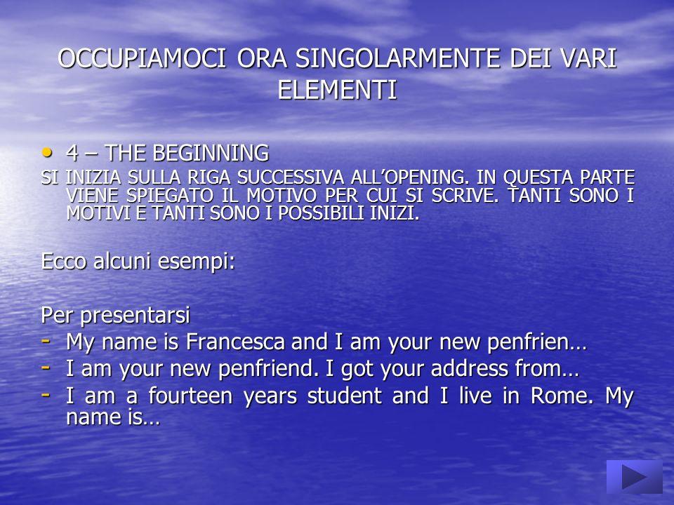 OCCUPIAMOCI ORA SINGOLARMENTE DEI VARI ELEMENTI 4 – THE BEGINNING 4 – THE BEGINNING SI INIZIA SULLA RIGA SUCCESSIVA ALLOPENING.