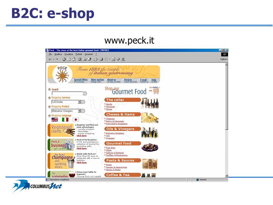 B2C: e-shop www.peck.it