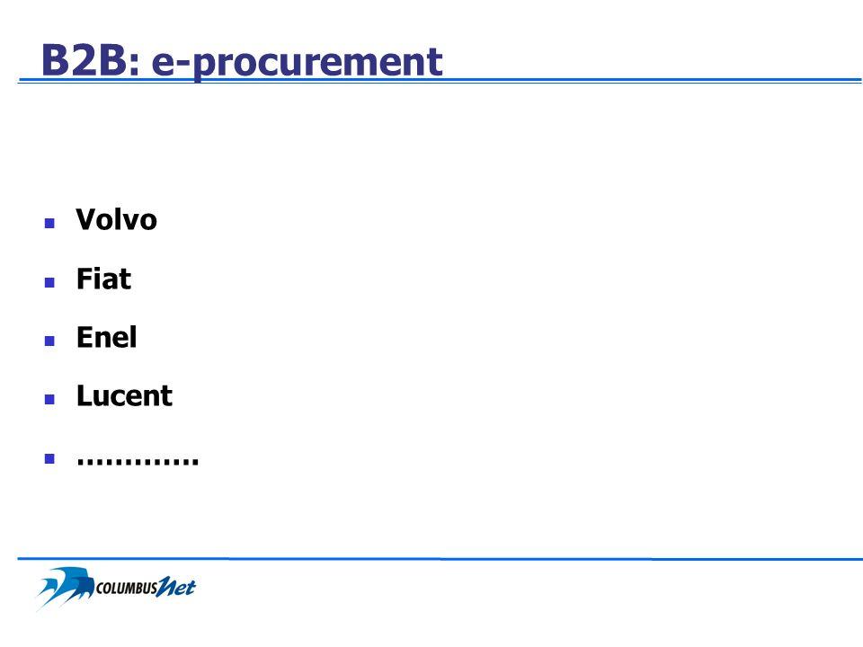 B2B : e-procurement Volvo Fiat Enel Lucent ………….