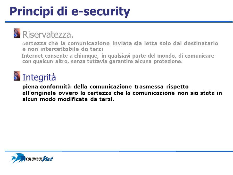 Principi di e-security Riservatezza. c ertezza che la comunicazione inviata sia letta solo dal destinatario e non intercettabile da terzi Internet con