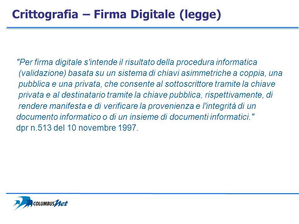 Crittografia – Firma Digitale (legge)