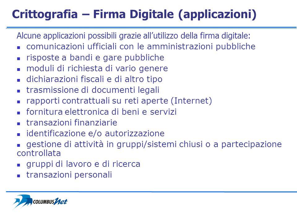 Crittografia – Firma Digitale (applicazioni) Alcune applicazioni possibili grazie allutilizzo della firma digitale: comunicazioni ufficiali con le amm