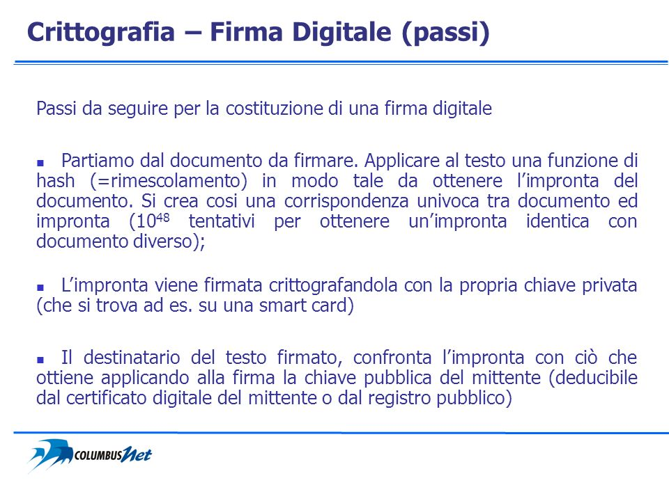 Crittografia – Firma Digitale (passi) Passi da seguire per la costituzione di una firma digitale Partiamo dal documento da firmare. Applicare al testo