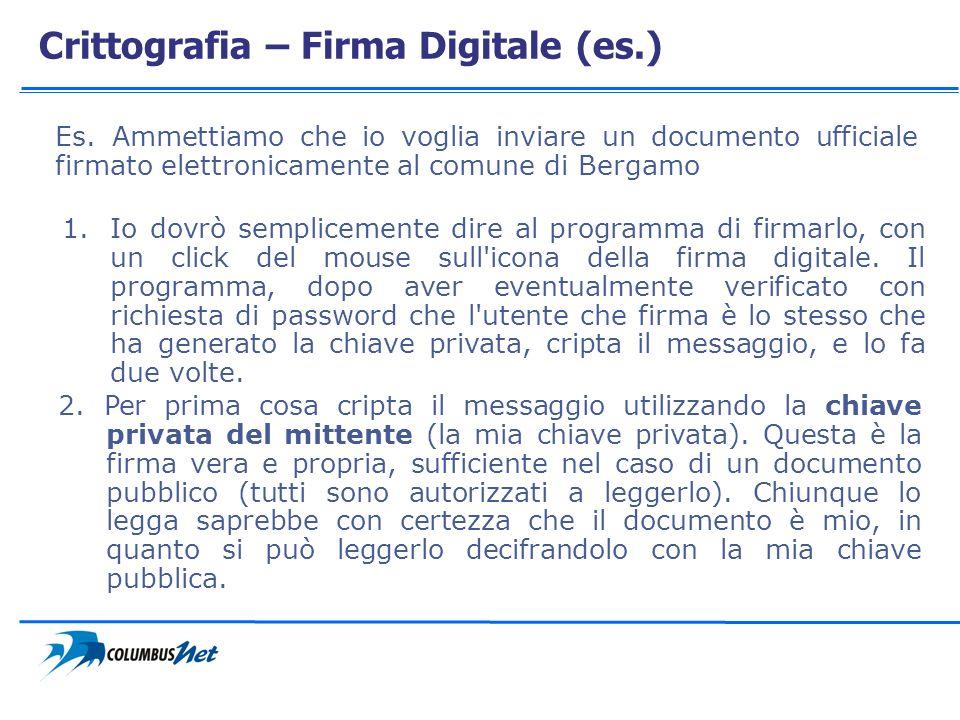 Crittografia – Firma Digitale (es.) Es. Ammettiamo che io voglia inviare un documento ufficiale firmato elettronicamente al comune di Bergamo 1.Io dov